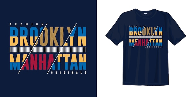 Diseño de camiseta de tipografía de arte de moda. brooklyn manhattan