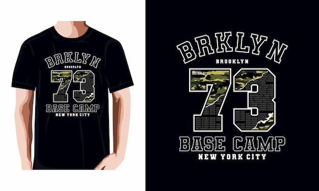 Diseño de camiseta de tipografía de base camp 73 vector premium