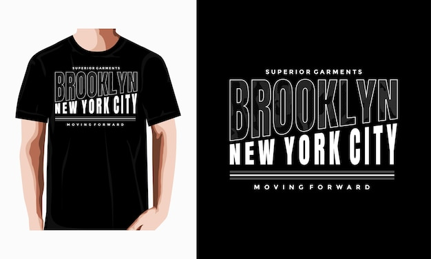 Diseño de camiseta de tipografía de brooklyn vector premium