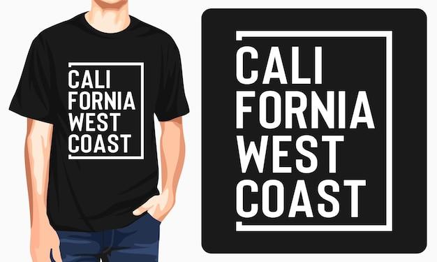 Diseño de camiseta de tipografía de california.