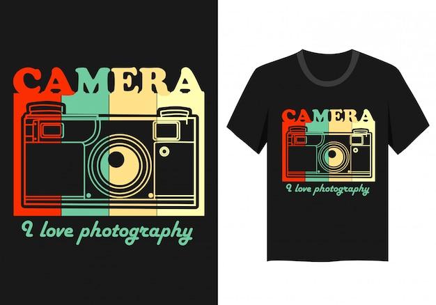 Diseño de camiseta de tipografía de cámara