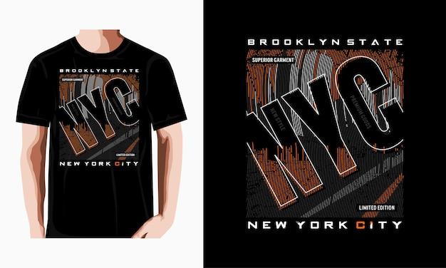 Diseño de camiseta de tipografía de la ciudad de nueva york de moda vector premium