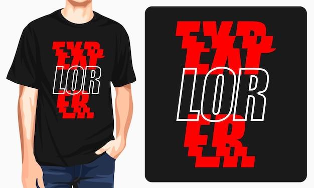 Diseño de camiseta de tipografía explorer.