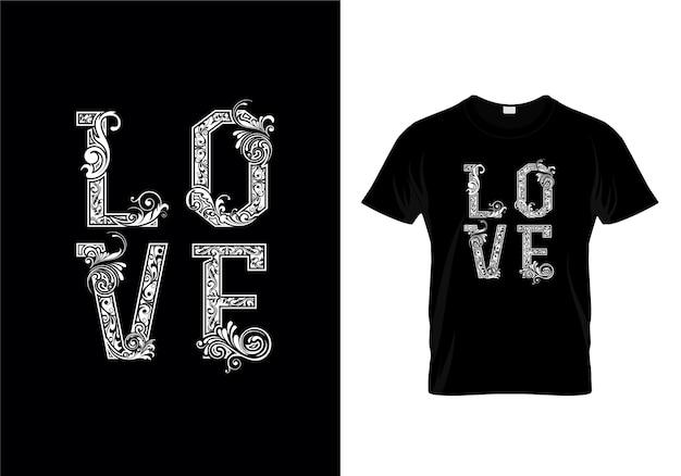 Diseño de camiseta con tipografía love