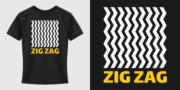 Diseño de camiseta de tipografía de patrón de zigzag