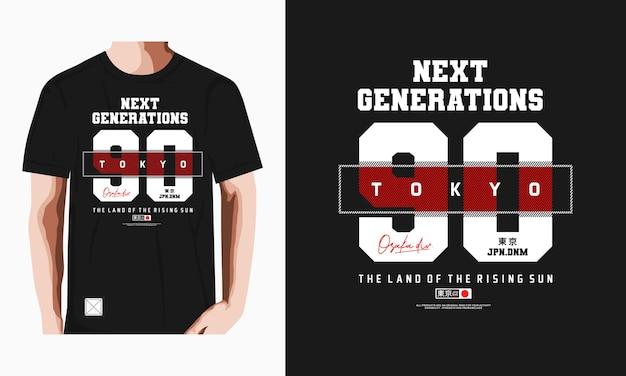 Diseño de camiseta de tipografía de tokio vector premium