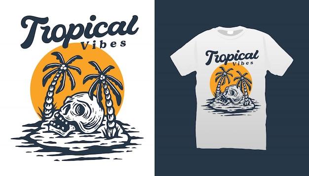 Diseño de camiseta tropical vibes