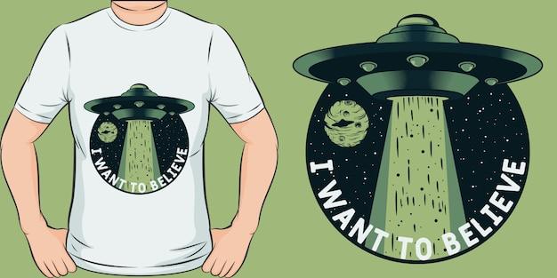 Diseño de camiseta único y moderno que quiero creer