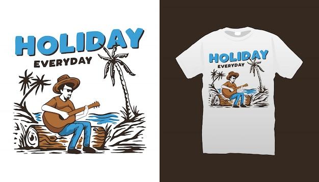 Diseño de camiseta de vacaciones en la playa