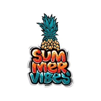 Diseño de camiseta vibraciones de verano con ilustración de graffiti de piña