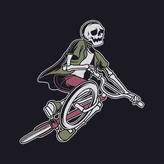 Diseño de camiseta vintage calavera jugando bicicleta con posición de vuelo e inclinando su bicicleta bicicleta ilustración