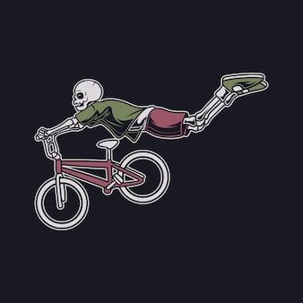 Diseño de camiseta vintage una calavera con una posición de vuelo en una ilustración de bicicleta de estilo flotante