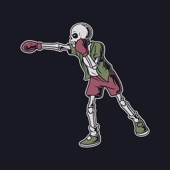 Diseño de camiseta vintage, el cráneo hace una ilustración de boxeo de golpe directo