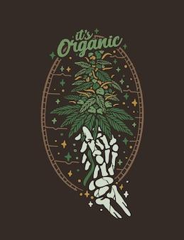 Diseño de camiseta vintage de hoja de cannabis orgánico.