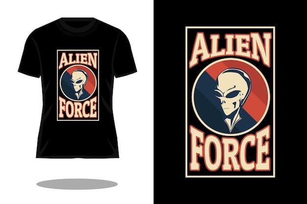 Diseño de camiseta vintage retro de fuerza alienígena