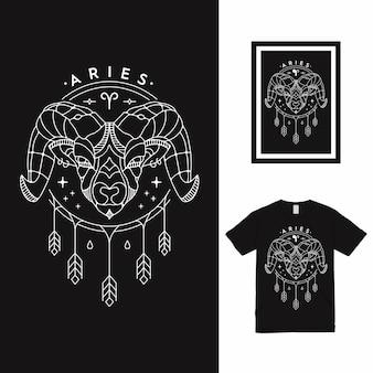 Diseño de camiseta zodiac aries line art