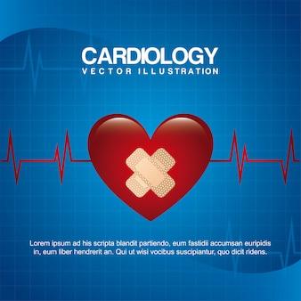 Diseño de cardiología sobre fondo azul ilustración vectorial
