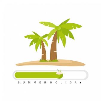 Diseño de carga de verano con cocotero de coco y cocotero.