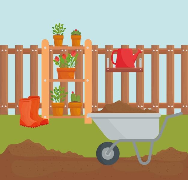 Diseño de carretilla de mano y plantas en macetas, jardinería y naturaleza
