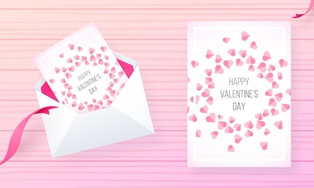Diseño de carrito de felicitación decorado en forma de corazón pequeño para happy valentine's