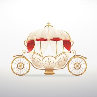Diseño de carro de cuento de hadas dorado