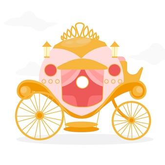 Diseño de carro de cuento de hadas rosa y dorado