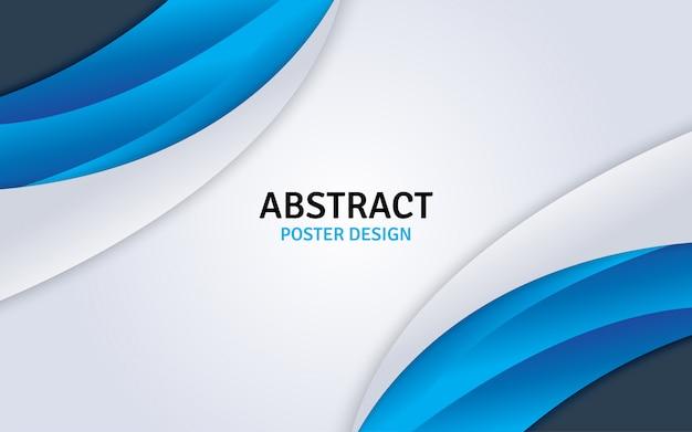 Diseño de cartel abstracto con fondo azul y blanco.