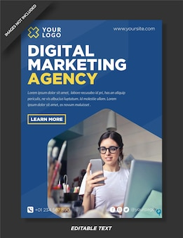 Diseño de cartel de agencia de marketing digital.