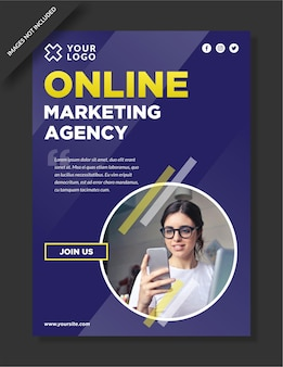 Diseño de cartel de agencia de marketing online.