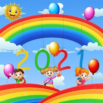 Diseño de cartel para año nuevo 2020 con niños felices.