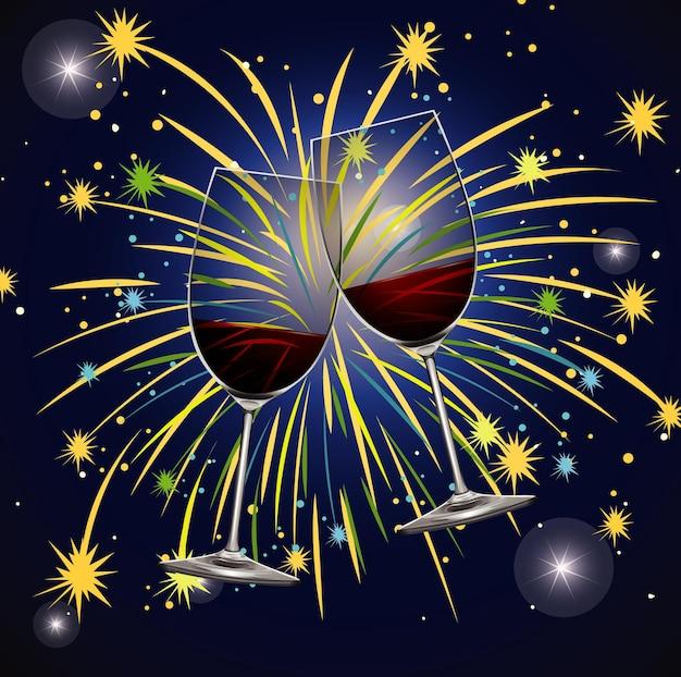 Diseño de cartel para año nuevo con bebidas y fuegos artificiales.
