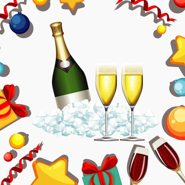 Diseño de cartel para año nuevo con champagne y copas.