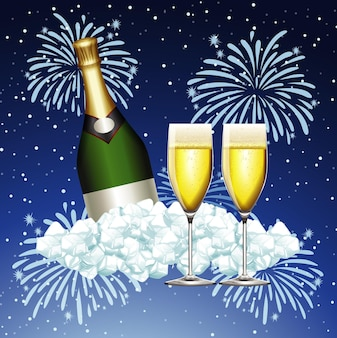 Diseño de cartel para año nuevo con champán y fuegos artificiales.