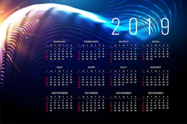 Diseño del cartel calendario 2019 en estilo de tecnología