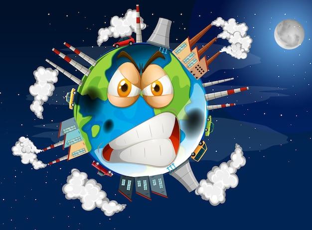 Diseño de cartel del calentamiento global en la tierra.