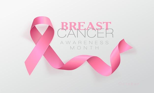 Diseño cartel caligrafía concienciación cáncer mama con cinta rosa realista