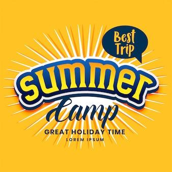 Diseño del cartel del campamento de verano en color amarillo.