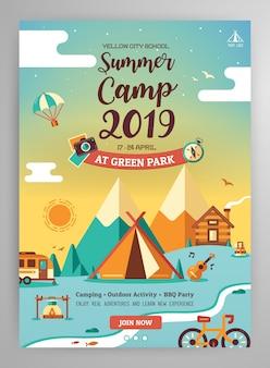 Diseño del cartel del campamento de verano.