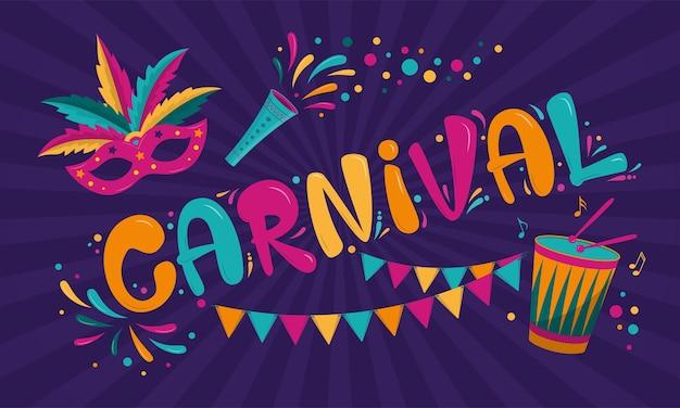 Diseño de cartel de carnaval con máscara, guirnalda y tambor.
