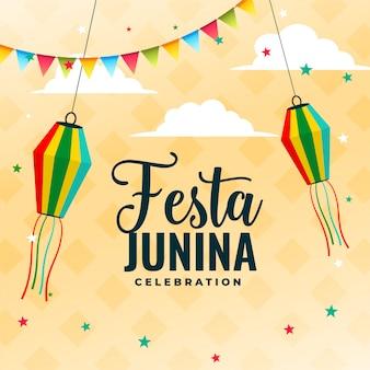 Diseño de cartel de celebración de festa junina con elementos de decoración.