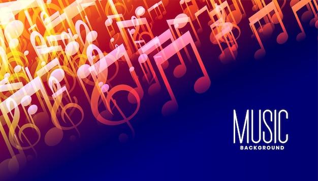 Diseño de cartel colorido de notas de sonido de música