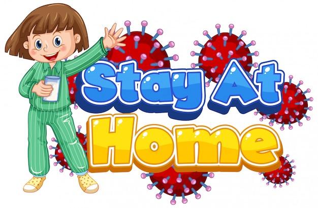 Diseño de cartel de coronavirus con la palabra quedarse en casa sobre fondo blanco.