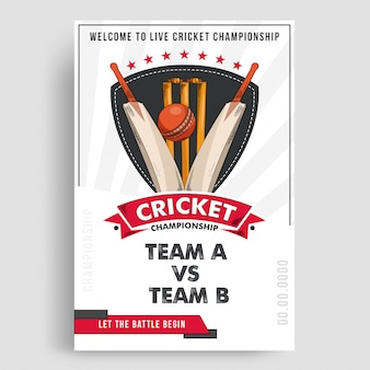 Diseño de cartel de cricket.