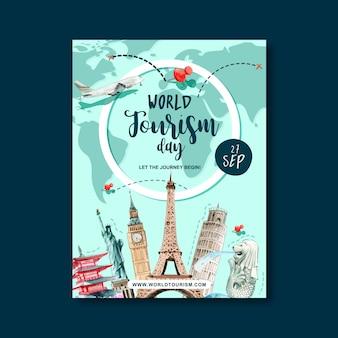 Diseño del cartel del día del turismo con ruta de vuelo, itinerario, mundo, plan