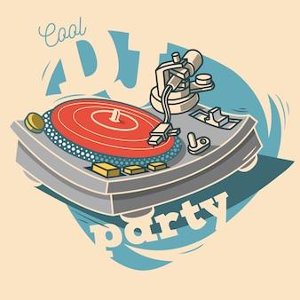 Diseño de cartel divertido de dj cool party con disco de vinilo y un gramop