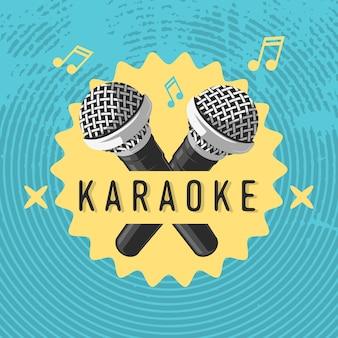 Diseño de cartel de etiqueta de karaoke con ilustraciones de micrófono