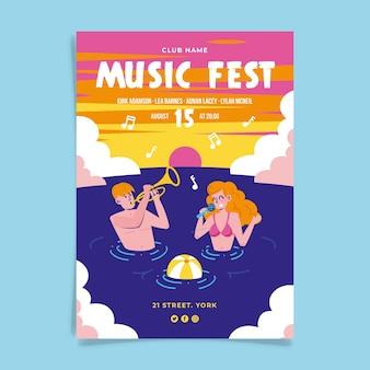 Diseño del cartel del evento del festival de música