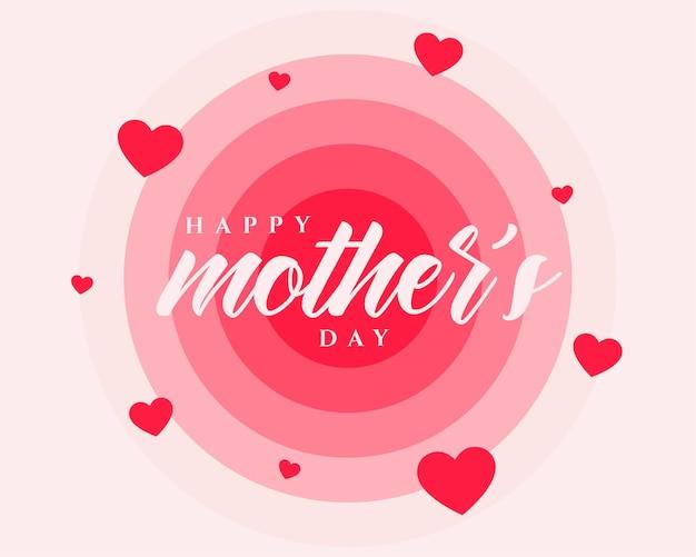 Diseño de cartel de feliz día de la madre con corazones rojos