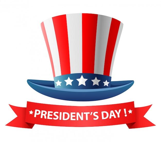 Diseño del cartel feliz día de los presidentes con sombrero.