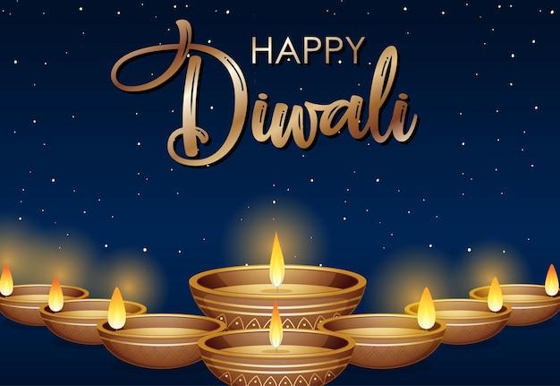 Diseño de cartel feliz diwali